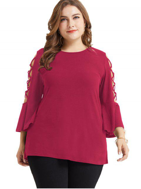 chic Lattice Flare Sleeve Plus Size Tunic Tee - ROSE RED 4X Mobile
