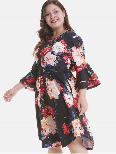 women Floral Plus Size Tier Flare Sleeve Dress - BLACK 2X Mobile