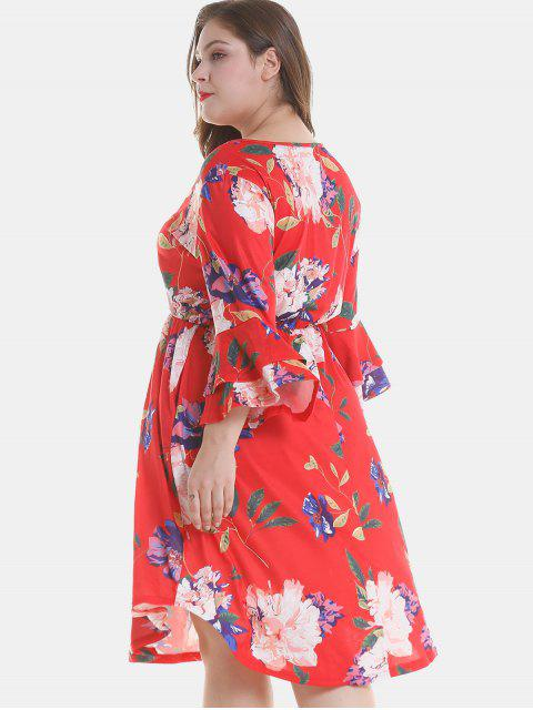 latest Floral Plus Size Tier Flare Sleeve Dress - RED 3X Mobile
