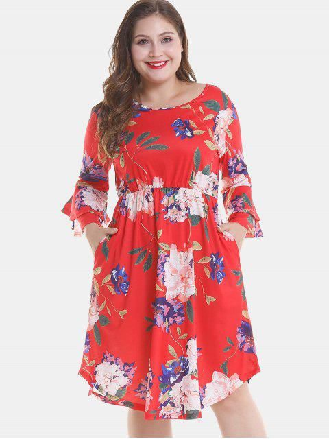 affordable Floral Plus Size Tier Flare Sleeve Dress - RED 2X Mobile