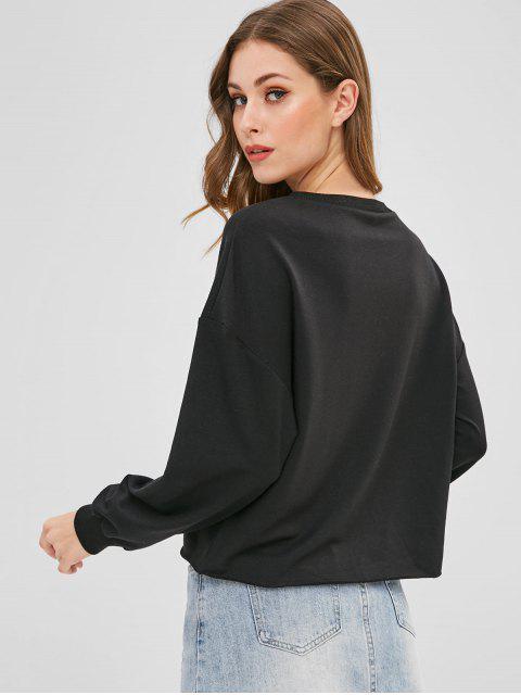 Sweat-shirt Licorne Brodée à Goutte Epaule - Noir XL Mobile