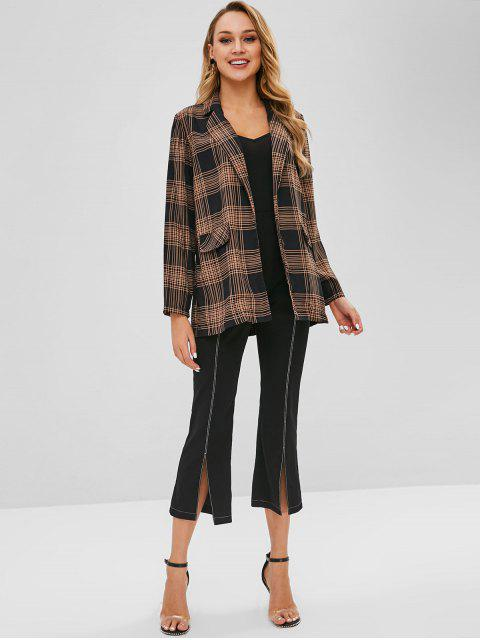 lady Open Front Checked Blazer - BLACK L Mobile