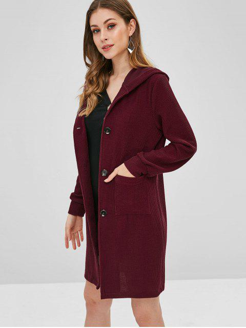 chic Longline Hooded Button Up Coat - RED WINE XL Mobile