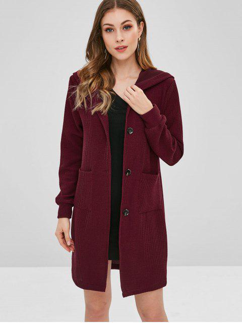Manteau à Capuche Long Boutonné - Rouge Vineux M Mobile