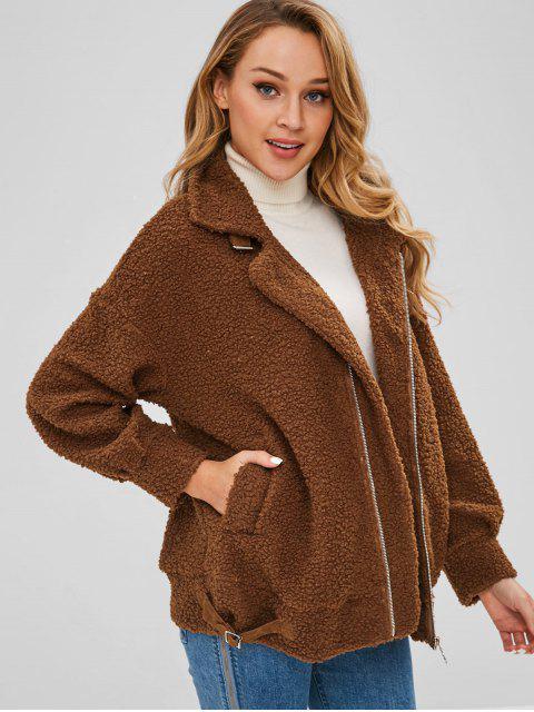 Manteau Zippé à Goutte Epaule - Brun L Mobile