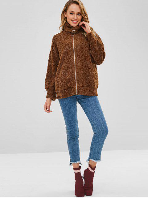 women's Drop Shoulder Zip Up Teddy Coat - BROWN L Mobile