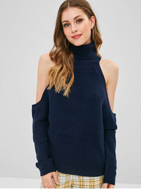 outfit Pullover Cold Shoulder Turtleneck Sweater - MIDNIGHT BLUE ONE SIZE Mobile