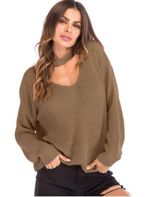 lady Cut Out Choker Neck Oversized Sweater - TAN L Mobile