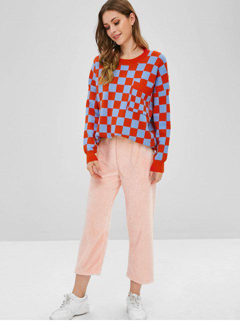 best Checkered Pocket Drop Shoulder Sweater - MULTI-A ONE SIZE Mobile