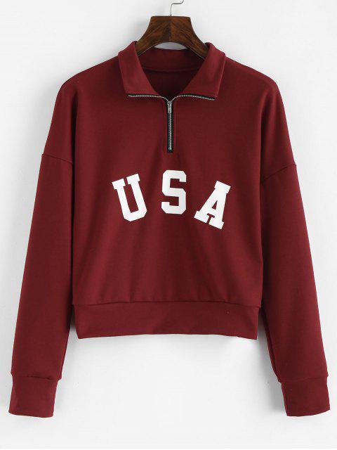 fancy ZAFUL Half Zip Letter Graphic Sweatshirt - RED WINE ONE SIZE Mobile