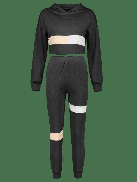outfit Color Block Heather Crop Pants Set - BLACK M Mobile
