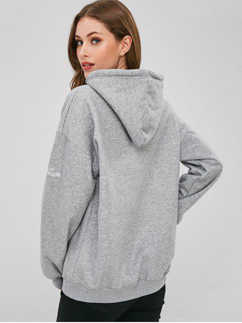 Sweat à capuche en polaire avec épaules dénudées - Gris S Mobile