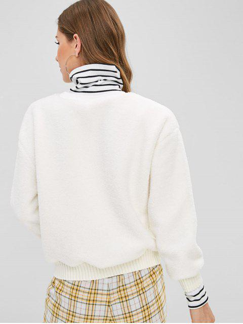 shops Striped Graphic Embroidered Fluffy Teddy Sweatshirt - WHITE S Mobile