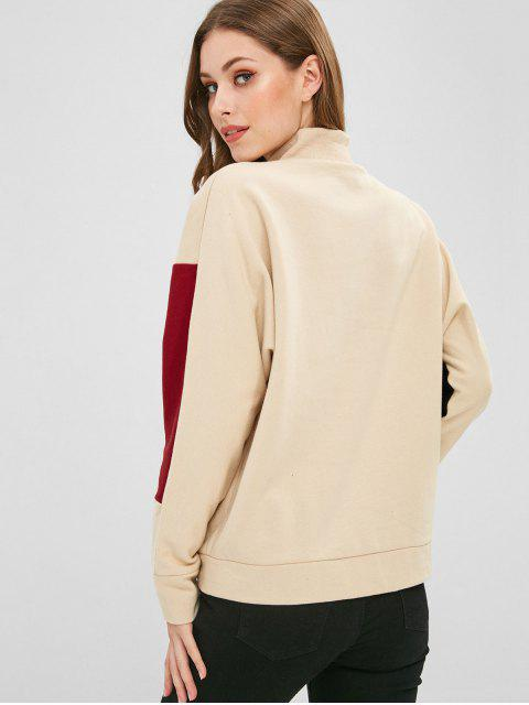 online New York Graphic Color Block Sweatshirt - APRICOT L Mobile