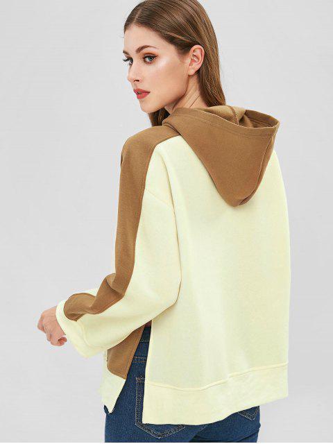 hot Fleece Slit Color Block Hoodie - BEIGE M Mobile