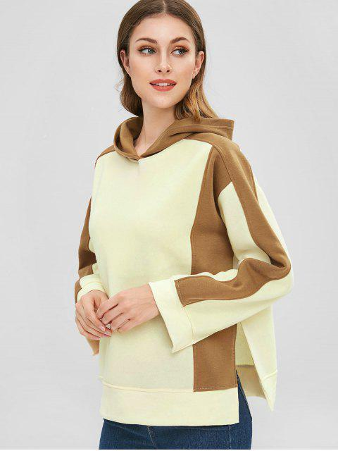 outfit Fleece Slit Color Block Hoodie - BEIGE L Mobile