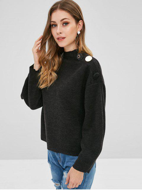 shops Beaded Buttons Mock Neck Sweater - BLACK L Mobile