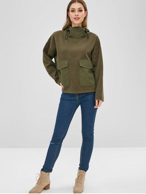 trendy Front Pockets Fleece Hoodie - ARMY GREEN M Mobile