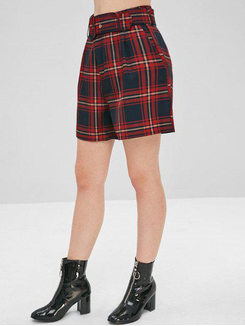 sale Checked High Waisted Shorts - MULTI M Mobile
