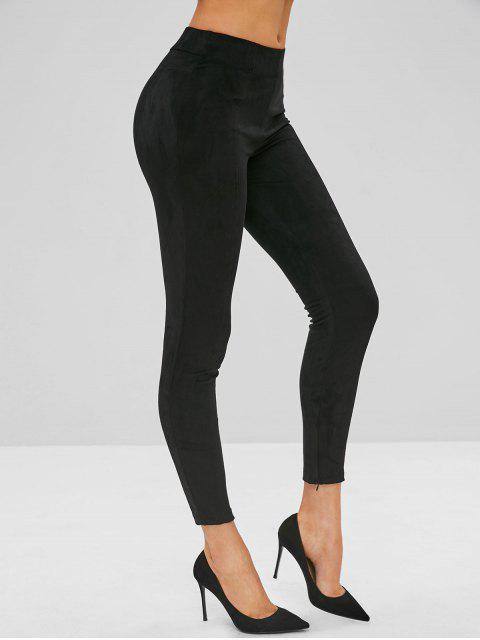 fashion Zippered Ankle Suede Skinny Pants - BLACK XL Mobile