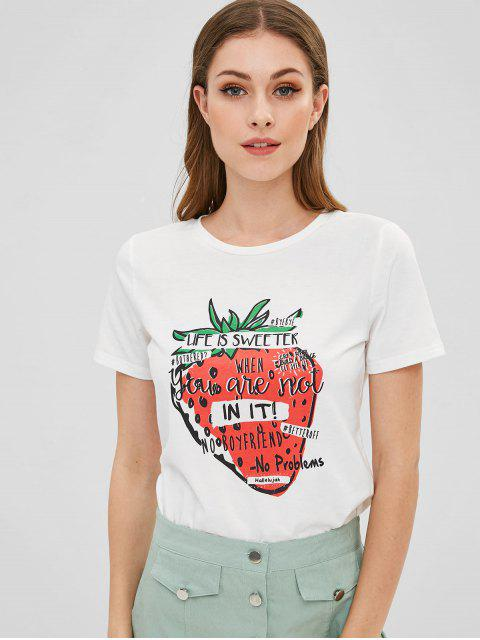 fashion Cute Letter Strawberry Graphic Tee - WHITE S Mobile
