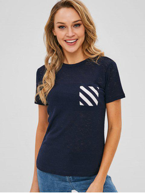 hot Front Pocket Stripes Panel Tee - MIDNIGHT BLUE M Mobile