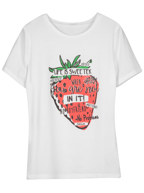 ladies Cute Letter Strawberry Graphic Tee - WHITE M Mobile