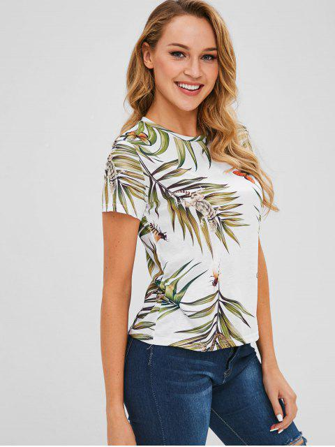 lady Lizard Butterfly Leaves Print Tee - WHITE M Mobile