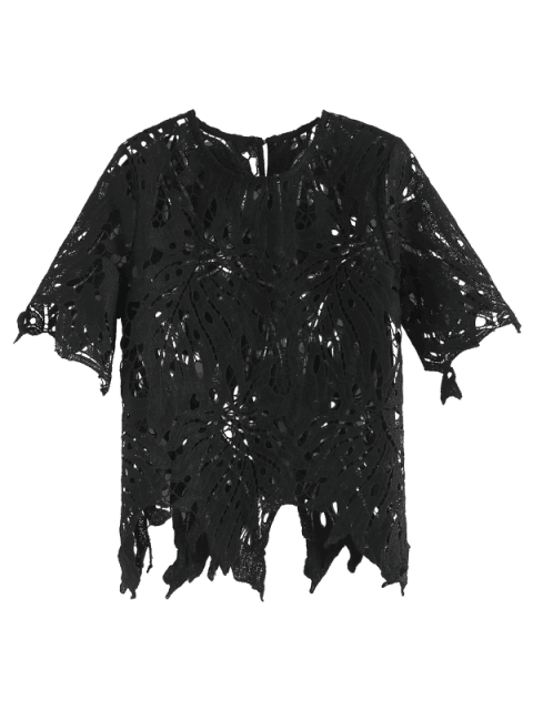 outfit Short Sleeve Openwork Cutout Top - BLACK M Mobile
