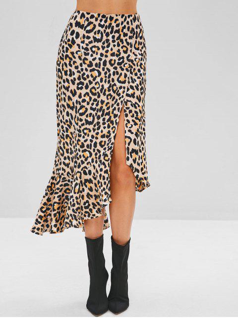 unique Ruffles Leopard Asymmetrical Skirt - LEOPARD M Mobile
