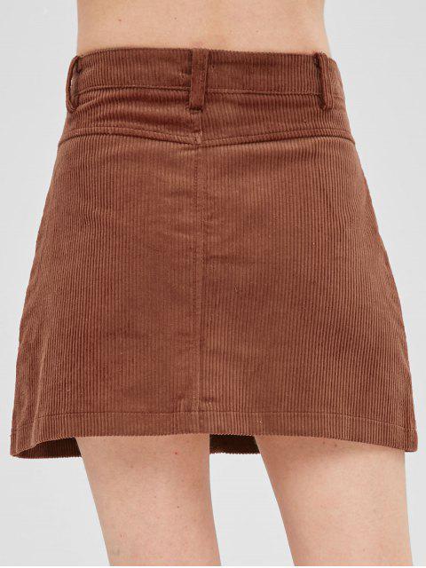 best A Line Button Fly Corduroy Skirt - ORANGE SALMON M Mobile