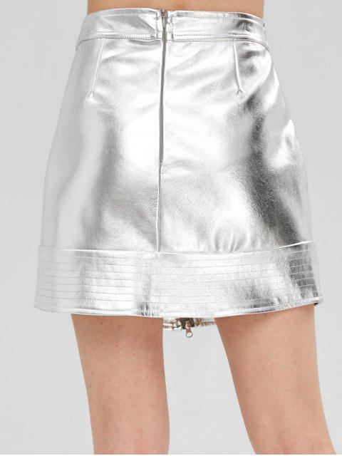 outfits Zippered Metallic Skirt - SILVER L Mobile
