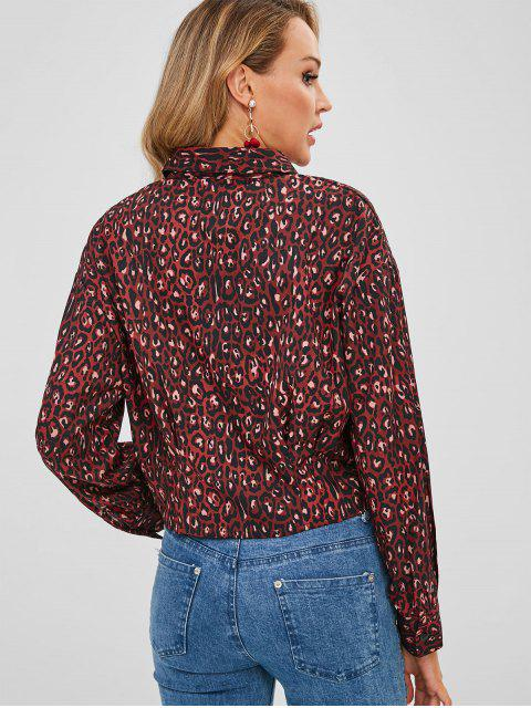 chic Pleated-detail Leopard Shirt - MULTI M Mobile