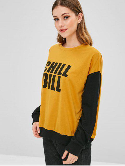 تشيل بيل جرافيك اللون بلوك البلوز - الأصفر M Mobile