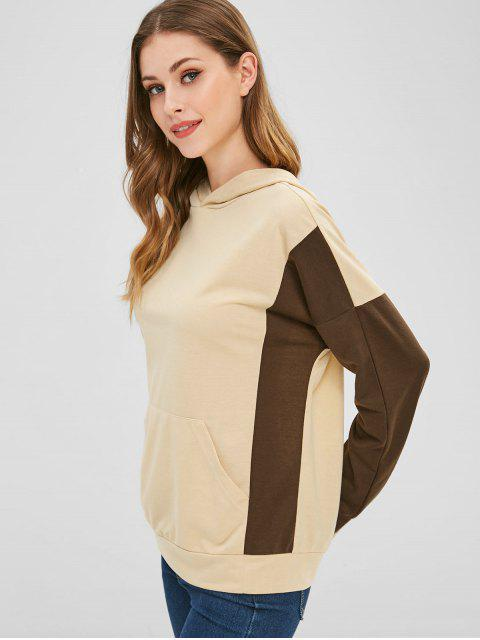 hot Two Tone Front Pocket Hoodie - APRICOT S Mobile