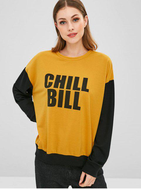 shop Chill Bill Graphic Color Block Sweatshirt - YELLOW S Mobile