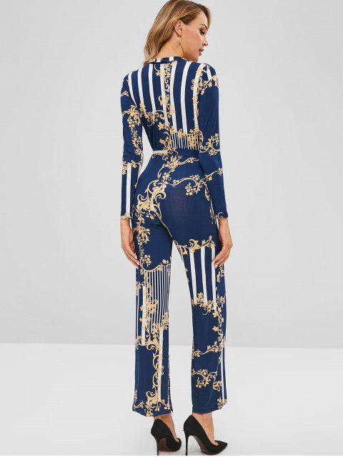 outfit Floral Print Striped Belted Wide Leg Jumpsuit - LAPIS BLUE XL Mobile
