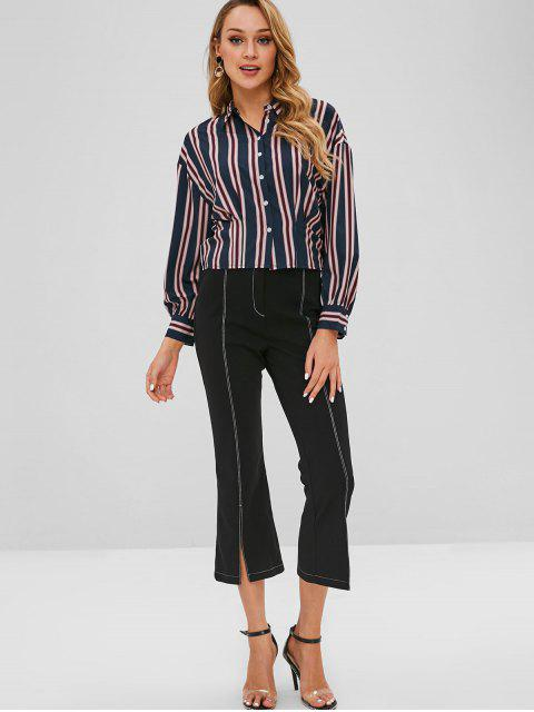 outfits Pleated-deatil Striped Shirt - MULTI M Mobile