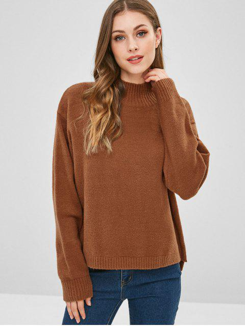 new ZAFUL Mock Neck Slit High Low Sweater - BROWN ONE SIZE Mobile
