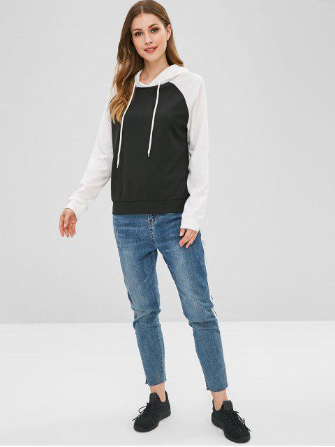 shops Drawstring Two Tone Hoodie - BLACK M Mobile