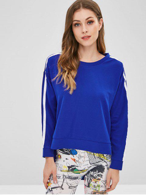 affordable Stripe Patch High Low Sweatshirt - BLUE L Mobile