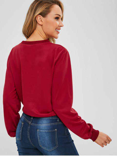 buy Pullover Contrast Graphic Front Sweatshirt - CHERRY RED L Mobile