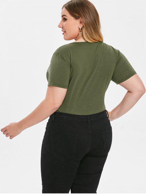 fashion Plus Size Surplice Bodysuit - GREEN 2X Mobile