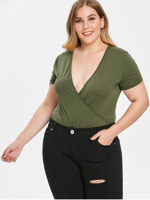 fancy Plus Size Surplice Bodysuit - GREEN 3X Mobile