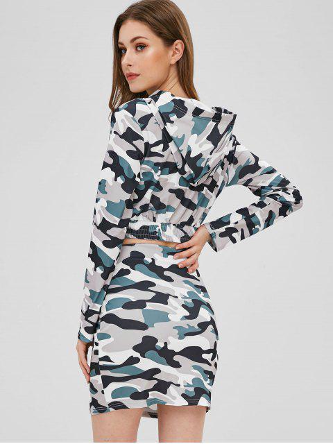 Ensemble de Haut Court Camouflage Imprimé et de Jupe Deux Pièces - ACU Camouflage S Mobile