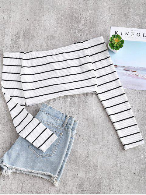 women's Off Shoulder Striped Ruched Crop Tee - WHITE S Mobile