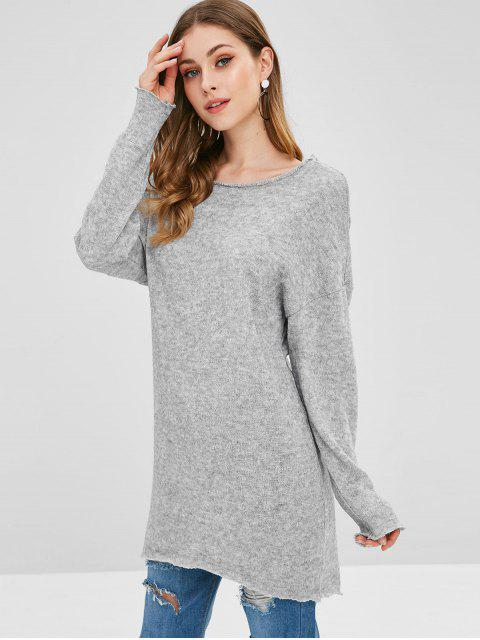 hot Drop Shoulder High Low Longline Sweater - GRAY CLOUD S Mobile