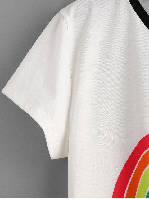 T-shirt Rayé Graphique Palmier Arc-en-ciel - Blanc M Mobile