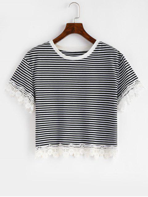 T-shirt Panneau Rayé Festonné au Crochet - Noir S Mobile