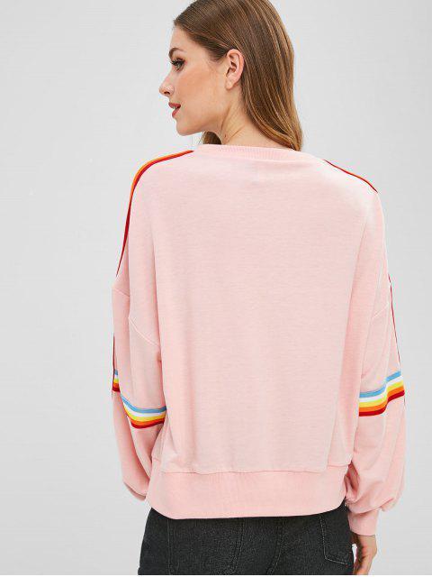 affordable Colorful Striped Drop Shoulder Sweatshirt - PINK XL Mobile